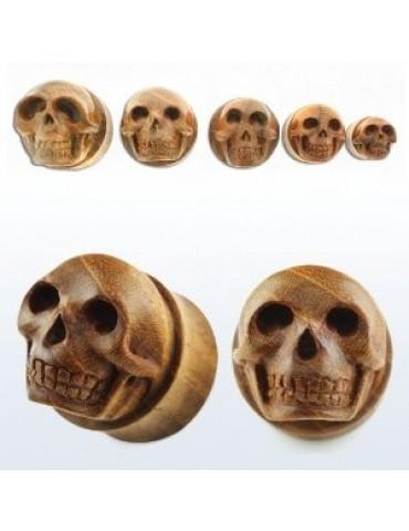 Teak Wood Hand Carved Skull Plug