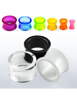 Semi Transparent acrylic double flare flesh tunnel