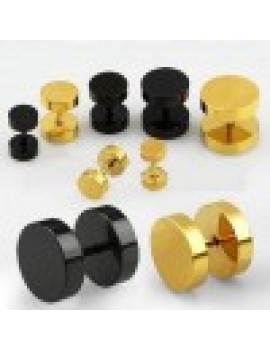 Black and Gold Anodized Steel Fake Plugs