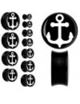 Double Flared Black Acrylic Plug with White Anchor
